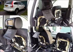 DVD head rest monitors installed in Honda CRV
