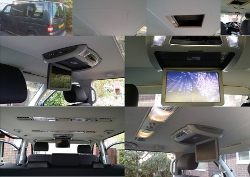 Roof mounted DVD player installed in a VW Camper.