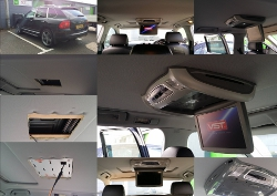 Roof mounted DVD player for Porsche Cayanne.